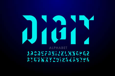 Technology style font design, alphabet and numbers Иллюстрация