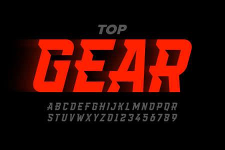 Speed sport style modern font, alphabet and numbers Illusztráció