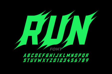 Sport style font design, alphabet and numbers, vector illustration