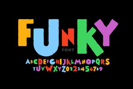 Playful style font design, childish alphabet letters and numbers vector illustration Ilustração Vetorial