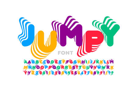 Jumping style font design, alphabet letters and numbers vector illustration Vectores
