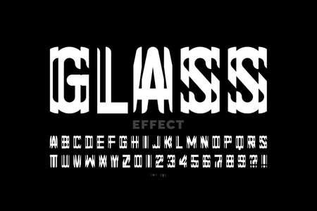 Glass mirror style modern font design, alphabet and numbers vector illustration Ilustração