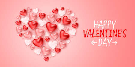 Happy Valentine's Day. Romantic composition of a heart shape made of realistic 3d hearts on pink background. For design of greeting card, banner, poster