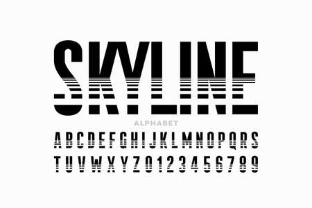 Horizon line style condensed font, alphabet letters and numbers