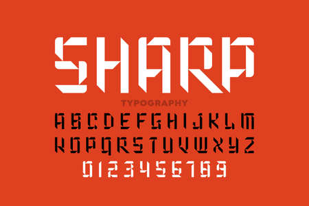 Sharp style font, alphabet letters and numbers