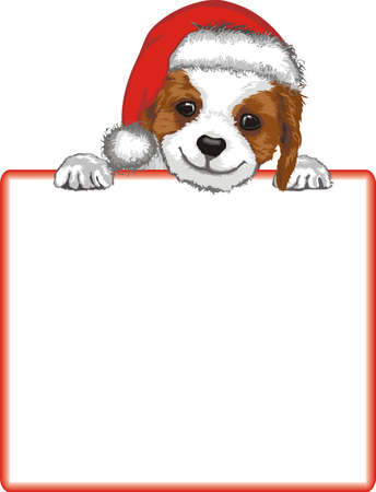 Dog holding blank paper for Christmas message Vector