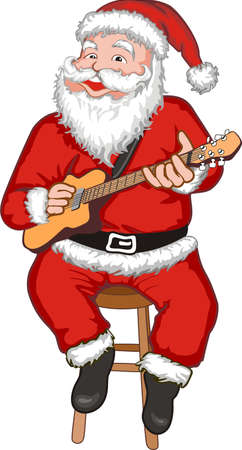 Funny smiling Santa with guitar playing Christmas song Vector