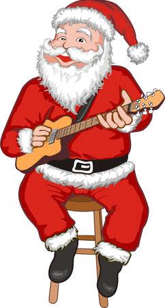 Funny smiling Santa with guitar playing Christmas song