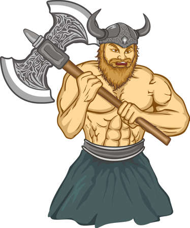 period costume: Viking with an ax preparing for battle