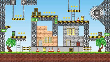 plataforma: Teja conjunto Plataforma de Juego - Un conjunto de vectores de activos juego en capas, contiene backgorund, las baldosas del suelo y varios artículos, objetos decoraciones utilizadas para la creación de juegos para móviles Vectores