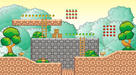 asset: Tile set Platform for Game - A set of layered vector game asset,  contains backgorund, ground tiles and several items  objects  decorations, used for creating mobile games
