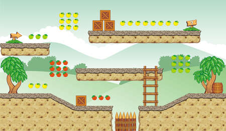used items: Tile set Platform for Game - A set of layered vector game asset,  contains backgorund, ground tiles and several items  objects  decorations, used for creating mobile games