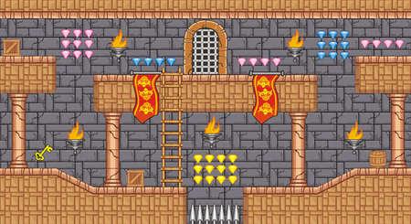 Fliese Plattform für Game - Eine Reihe von geschichteten Vektor-Spiel Asset enthält backgorund, Bodenfliesen und mehrere Artikel Objekte Dekorationen, verwendet für mobile Spiele Vektorgrafik