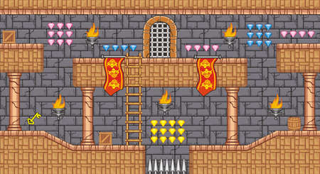 Tile jeu Plate-forme pour Game - Un ensemble de couches jeu vecteur actif, contient backgorund, carreaux de sol et plusieurs articles objets de décorations, utilisés pour la création de jeux mobiles Vecteurs