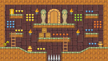 barrel tile: Tile set Platform for Game - A set of layered vector game asset,  contains backgorund, ground tiles and several items  objects  decorations, used for creating mobile games