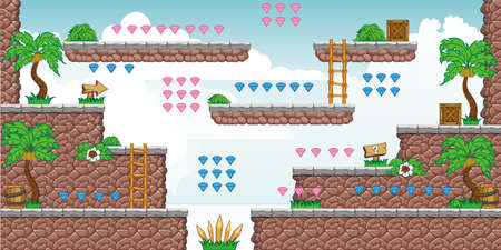 Tile set Platform for Game - A set of layered vector game asset,  contains background, ground tiles and several items / objects / decorations, used for creating mobile games