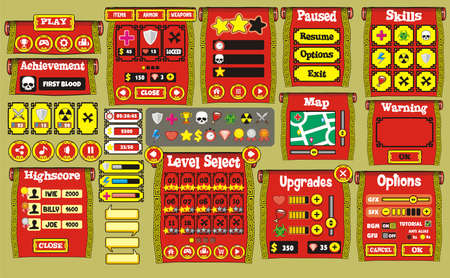 Game User Interface Design, Illustration of a funny  graphic gui background, in cartoon style with basic buttons  and functions, status bar, for creating game