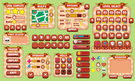 Platform Game User Interface For Tablet, Illustration  of a platform game user interface, in cartoon style with  basic buttons and icons for tablet pc Illustration