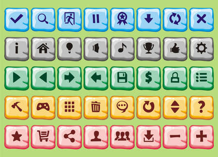 game interface buttons set, for app icons contains different colours, buttons sets for creating 2d game  イラスト・ベクター素材