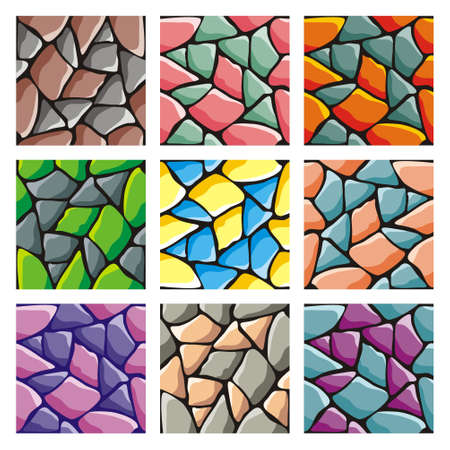 set of pattern for game background, vector stone and wall background textures collection for creating game Vectores