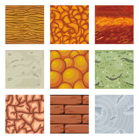 seamless patterns set, vector stone background textures collection for creating game Vectores