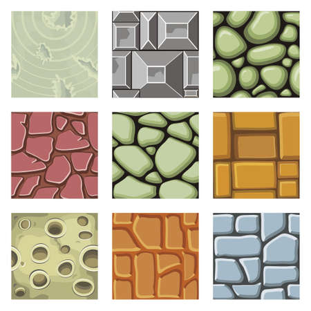Seamless patterns set, vector stone background textures collection for creating game.