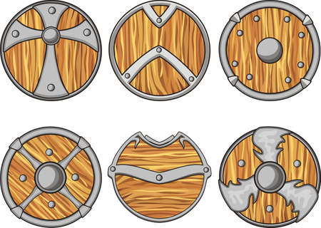 sets of wooden shield for icon and property 2d game development Ilustrace