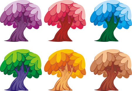 Diversity cartoon of trees set isolated on white for game element