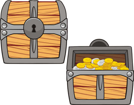 illustrations of treasure chest, open, closed and with golden coins isolated on white Иллюстрация