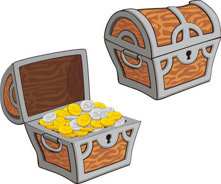 illustrations of treasure chest, open, closed and with golden coins isolated on white Stock Illustratie