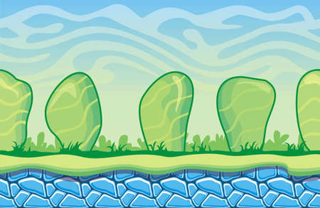 Seamless fantasy landscape, vector game background with separated layers for parallax effect.