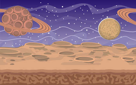 Fantasy seamless alien landscape, separated layers for game design, vector space background. Çizim