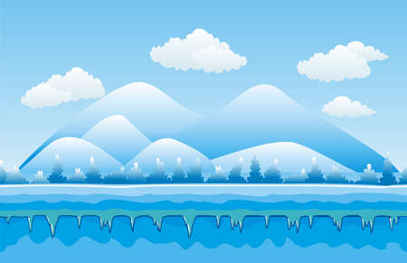 Seamless winter landscape, never ending vector nature background with separated layers for game design .2d game application. Vector Illustration for your application project.