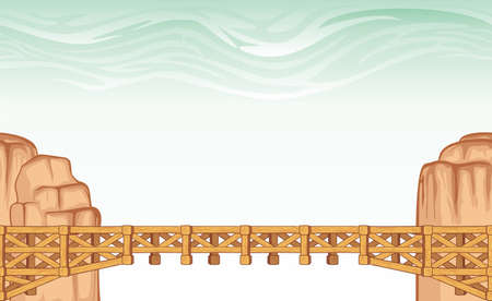Seamless bridge landscape, never ending vector nature background with separated layers for game design.