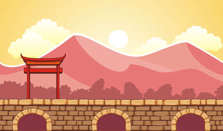 Seamless chinese town landscape, never ending vector nature background with separated layers for game design .2d game application. Vector Illustration for your application project