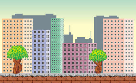 Seamless town landscape, never ending vector nature background  with separated layers for game design .2d game application.  Vector Illustration for your application project