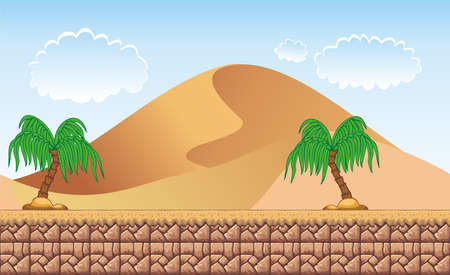 Seamless desert landscape, never ending vector nature background with separated layers for game design. 2d game application illustration for your application project.