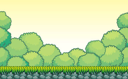 Seamless tropical landscape, never ending vector nature background  with separated layers for game design .2d game application.  Vector Illustration for your application project