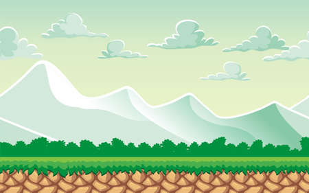Seamless mountain landscape, never ending vector nature background  with separated layers for game design .2d game application.  Vector Illustration for your application project  イラスト・ベクター素材