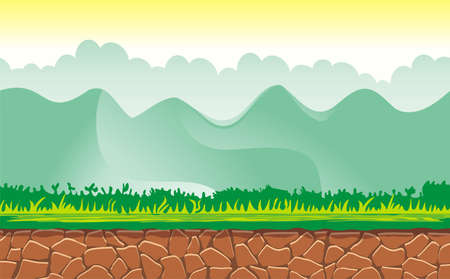 Seamless spring forest landscape, never ending vector nature background  with separated layers for game design .2d game application.  Vector Illustration for your application project