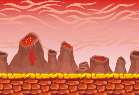 Seamless volcano landscape, never ending vector nature background  with separated layers for game design .2d game application.  Vector Illustration for your application project