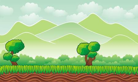 Seamless mountain landscape, never ending vector nature background  with separated layers for game design .2d game application.  Vector Illustration for your application project Ilustração