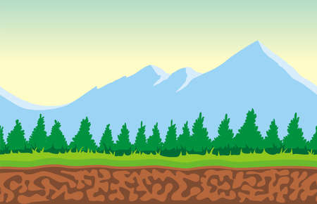 シームレスな山の風景は、ゲームデザイン.2Dゲームアプリケーションのための分離された層でベクター自然の背景を終わらせることは決してありません。 アプリケーション プロジェクトのベクターイラスト 写真素材 - 95238039