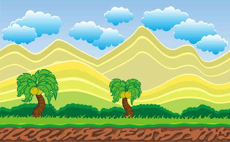 シームレスな山の風景は、ゲームデザイン.2Dゲームアプリケーションのための分離された層でベクター自然の背景を終わらせることは決してありません。 アプリケーション プロジェクトのベクターイラスト 写真素材 - 95237987