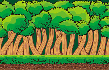 Cartoon fantasy forest landscape,  nature background for game design,  separated layers for parallax effect in animation