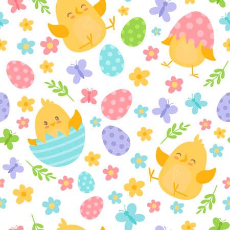 Happy Easter seamless pattern with cute cartoon chickens, eggs, spring flowers Ilustración de vector