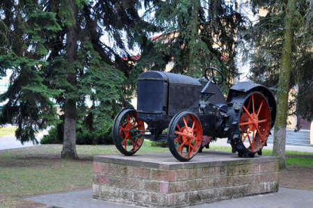 The first Soviet tractor on a pedestal in the city of Pinsk