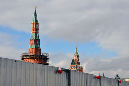 Repair work of the large Zamoskvoretsky bridge. far behind the fence - the Moscow Kremlin