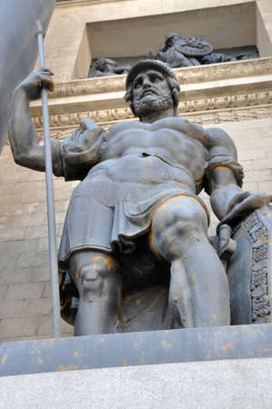 Moscow. Russia. ancient warrior on the triumphal arch in Moscow on Kutuzov Avenue