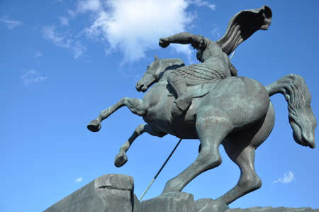 Monument to Saint George slaying a dragon on Poklonnaya hill in Victory Park, Moscow, Russia